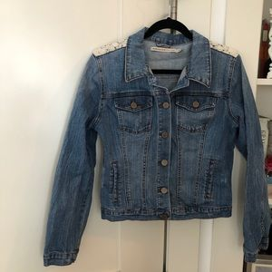 Denim Jacket with White Cotton Lace Details